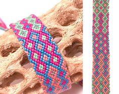 Amplia Tejido Amistad Pulsera anudada Cuerda Macramé Color Azul Rosa cadena
