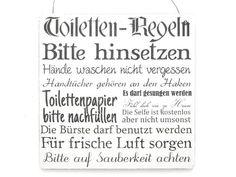XL Shabby Vintage Schild Türschild TOILETTEN REGELN Bad Toilette WC Dekoration Holzschild Landhaus Chic: Amazon.de: Küche & Haushalt