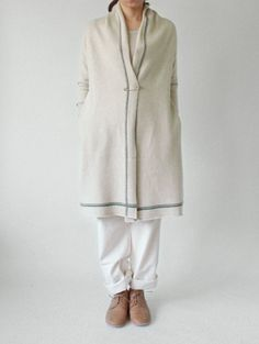 wool linen long cardigan by evam eva