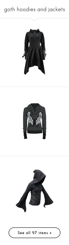 """""""goth hoodies and jackets"""" by octoburfrost ❤ liked on Polyvore featuring outerwear, jackets, coats, dresses, goth, gothic jackets, goth jacket, poizen industries, tops and hoodies"""