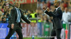 #MejoresImagenesDel2013  Mourinho y Guardiola nuevamente se ven las caras; pero con clubes distintos en un duelo electrizante, (Bayern - Chelsea, en la Final Super Cup Europa)