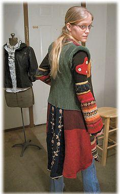 patch sweater coat