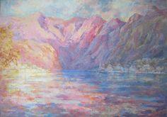 The Bay of Cattaro from Muo (Montenegro). Egg tempera, fiberboard.
