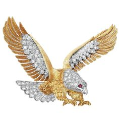 McTeigue Ruby Diamond Gold Platinum Carved Eagle Pin | From a unique collection of vintage brooches at https://www.1stdibs.com/jewelry/brooches/brooches/