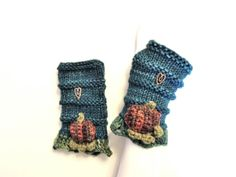 Kimberly Pumpkin Patch Fingerless Gloves, Hand Warmer in Teal Blue, Orange and Green, Treasured Friends Collection, Hand Painted Merino Wool...