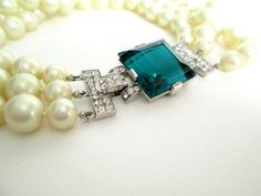 Trifari Costume Pearl Necklace with Emerald Jewel by JezebelsNOLA, $385.00