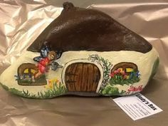 """Lindy's Rox: Fairy House Rock hand painted """"Little Bit of Magic..."""