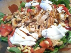 Goat Cheese Salad with Blackened Chicken - can substitute pecans for pine nuts.