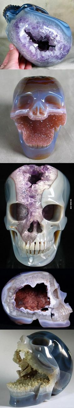 Geodes carved into skulls