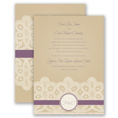 Customize these gorgeous lace invitations to coordinate with your theme and colors. #weddinginvitations #davidsbridal