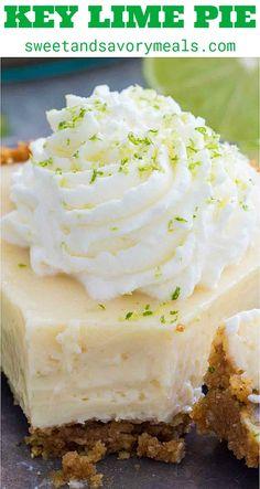 Key Lime Pie Recipe Video, Key Lime Pie Recipe From Scratch, Homemade Key Lime Pie Recipe, Creamy Key Lime Pie Recipe, Key Lime Desserts, Party Desserts, Plated Desserts, Lime Recipes, Fudge Recipes
