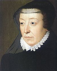 Catherine de Medicis, mother-in-law of Mary, Queen of Scots.  Wife of Henry II of France, she was the mother of Francis II who became king at 15. Catherine was regent for her sons and was, according to her biographer Mark Strage, the most powerful woman in 16th century Europe.