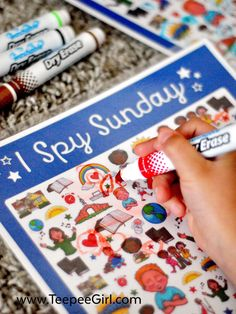 This free I Spy Sunday printable game is perfect for church, Sunday School, primary, and family home evening! Laminate it for use over & over! Sunday Activities, Sunday School Activities, Church Activities, Preschool Games, Sunday School Lessons, Sunday School Crafts, Preschool Crafts, Kids Church Games, Youth Activities