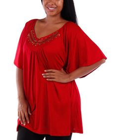 Look what I found on #zulily! Red Embellished V-Neck Tunic - Plus #zulilyfinds