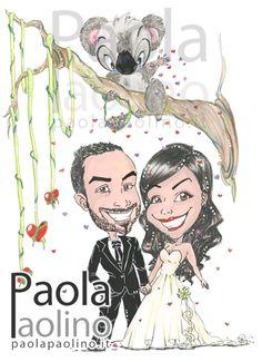 Una caricatura con un fantastico koala che lancia dei petali a forma di cuore sugli sposi. Il tema della caricatura rappresenta il viaggio di nozze in Australia, la terra dei Koala! :) www.paolapaolino.it #caricature #caricatura #caricaturista #ritrattista #illustrazione #arte #matrimonio Wedding Caricature, Wedding Posters, Graffiti Art, Terra, Wedding Cards, Stamping, Scrap, Australia, Diy Crafts