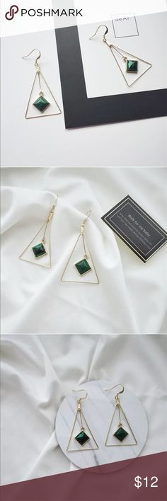 Green and Gold Geometric Earrings Completely new, but came without tag originally; clean and simple design; Jewelry Earrings