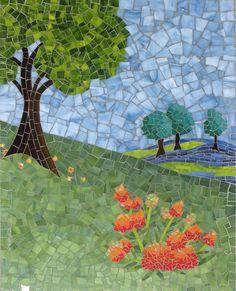 Mosaic art by Christine Brallier          #mosaic #trees