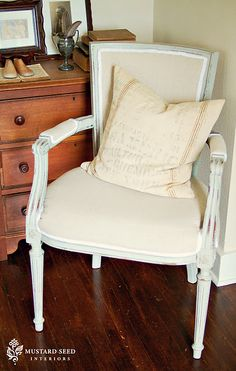 Old chair, painted & recovered, new again.