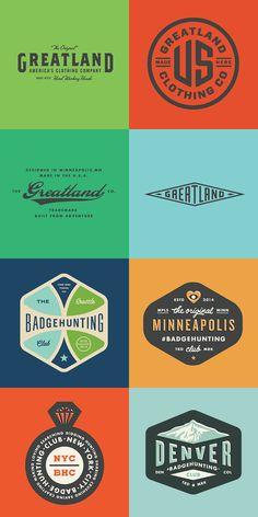 Here's a gorgeous collection of retro/vintage-style logos and badges by Minneapolis-based graphic designer Allan Peters. After a stint at BBDO as Logo Inspiration, Typographie Logo, Badges, Vintage Graphic Design, Retro Design, Badge Logo, Retro Logos, Badge Design, Branding Design