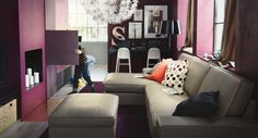 Amazing New IKEA Furniture Catalog 2013, Best of Living Room, Interesting Purple Cabinets with Best Light Brown IKEA Sofa