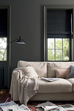 Take your coffee and the paper into a room layered with flax-colored fabrics set against velvety Benjamin Moore Kendall Charcoal painted wall. Living Room Colors, Living Room Paint, Living Room Grey, Charcoal Bedroom, Charcoal Walls, Gray Walls, Charcoal Gray, Grey Painted Walls, Charcoal Paint