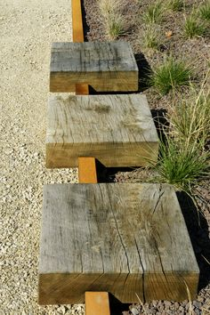 Reclaimed wood accents making a unique bed border. Urban Furniture, Garden Furniture, Modern Landscaping, Garden Landscaping, Landscape Architecture, Landscape Design, Jardin Decor, Garden Features, Garden Spaces