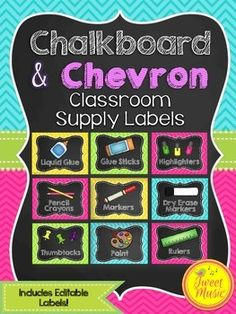 Labels for Classroom Supplies {Chalkboard and Chevron}  Decorate your classroom this year with these chalkboard and chevron styled classroom supply labels. There are 32 pre-printed labels and there fully editable supply labels for you to create your own labels as needed.