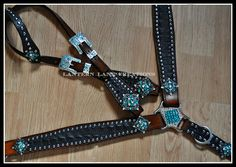 Custom black croc , with turquoise/clear bling conchos