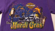 Spring is the perfect time to add to your Harley Davidson   T shirt collection! This purple Mardi Gras shirt is one you'll want to have!