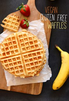 Vegan Gluten Free Oatmeal Waffles - A crispy on the outside, tender on the inside vegan + gluten free waffle that's lightly sweet and incredibly satisfying. Healthy enough for a weekday breakfast and special enough for a weekend brunch.