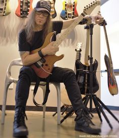 Scotti Hill from Skid Row and the D&A HYDRA triple guitar stand... Rockstars love The HYDRA!! >> http://www.heydna.com/pages/hydra  (click Scotti's pic to see his D&A page!)