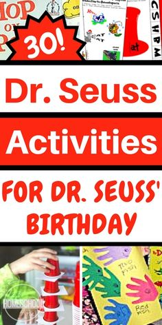 30 Dr. Seuss Activities perfect for helping toddler, preschool, prek, kindergarten, first grade, 2nd grade, 3rd grade, and 4th grade kids to celebrate Dr. Seuss' Birthday. These fun, educational activities are perfect for schools.