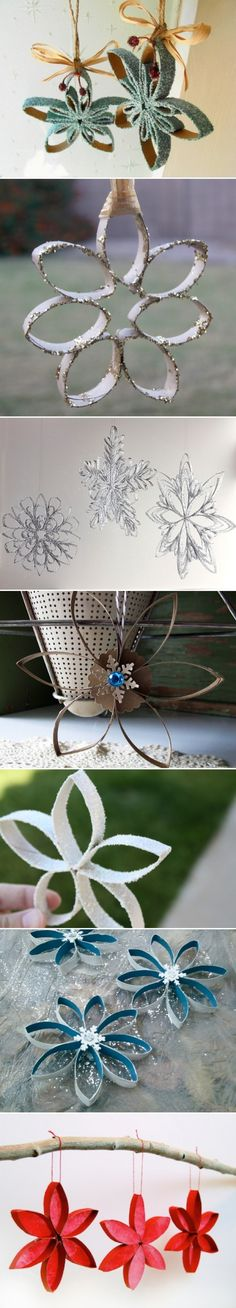 DIY CRAFT **Toilet paper rolls** Toilet Paper Roll Snowflakes _ The link is broken_ Christmas Tree Ornaments To Make, Noel Christmas, Christmas Decorations, Origami Christmas, Wedding Decorations, Diy Ornaments, Tree Decorations, Toilet Paper Roll Art, Toilet Paper Roll Crafts