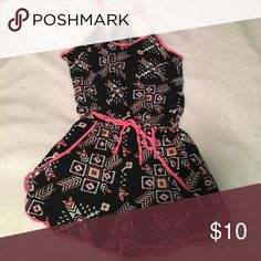Black and pink romper New without tags, never used, size small, color pink and black, really cute for summer Shorts