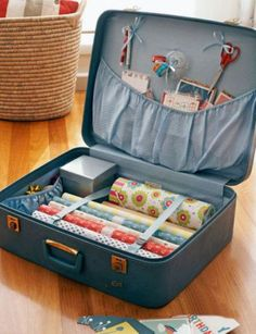 Suitcases for gift wrapping supplies; tags bags tissue scissors markers etc.  LOVE this idea!