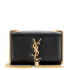 Saint Laurent Classic Monogramme Leather Shoulder Bag ($1,590) ❤ liked on Polyvore featuring bags, handbags, shoulder bags, clutches, ysl, nero, chain shoulder bag, leather hand bags, leather purses and man shoulder bag