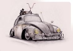 drawing of a 'rat rod' beetle Vw Tattoo, Beetle Tattoo, Auto Volkswagen, Vw T1, Rat Fink, Carros Retro, Beetle Drawing, Vw Vintage, Car Illustration