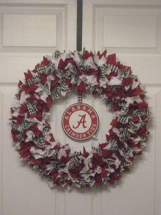 18 Alabama Crimson Tide Fabric Wreath with Crimson Tide Logo via Etsy Alabama Football Wreath, Alabama Wreaths, Razorback Wreath, Football Crafts, Football Stuff, Tide Logo, Silk Floral Arrangements, Fabric Wreath, Sweet Home Alabama