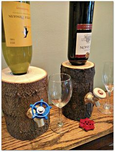 Log Wine Dispenser New & Improved von OhioWoodworkingShop