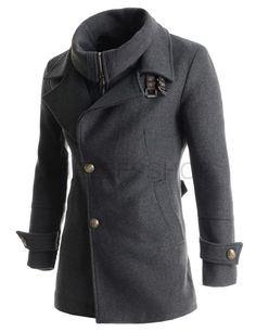 (CC8865-GRAY) Mens Slim Fit Removable Collar Zipper High Neck Buckle 3 Button Coat