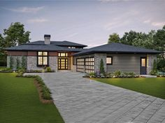 Great Plan for Corner Lots. House Plan The Lucas is a 3882 SqFt Contemporary, and Prairie style home floor plan featuring amenities like Covered Patio, Den, Free Standing Tub, and Guest Suite by Alan Mascord Design Associates Inc. Best House Plans, Dream House Plans, House Floor Plans, Contemporary House Plans, Contemporary Style Homes, Modern Home Plans, Contemporary Bathrooms, Contemporary Design, Prairie Style Houses