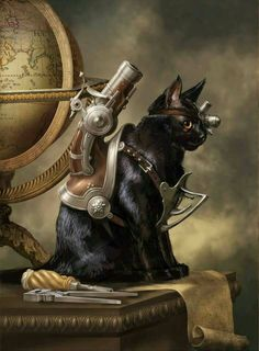 Safari Steampunk Anyone? Steampunk is a rapidly growing subculture of science fiction and fashion. Gato Steampunk, Steampunk Animals, Steampunk Costume, Steampunk Fashion, Gothic Steampunk, Victorian Gothic, Victorian Artwork, Steampunk Boots, Steampunk Necklace