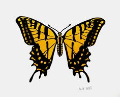 Colourful Butterfly  original linocut print by TheInkeryStore, £25.00