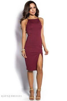 """Rashida"" Cranberry Red Simple Elegant Midi Cocktail Dress with Leg Split"