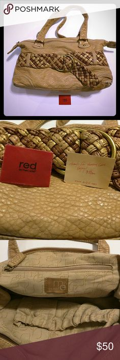 Mark Ecko Red Braided Tan and Gold Purse One open pocket on the back, zipper and two open pockets inside. Original Red envelope with note included. No signs of wear inside or outside except one ink spot on back above pocket. Snaps unbutton to extend space. Approx 15x8 measurement. Material used is BU ( your guess is as good as mine) Feels like soft leather. Mark Ecko Bags