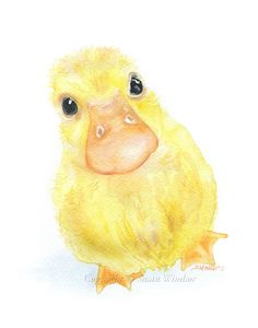 Duckling Watercolor Painting Fine Art Print Giclee by SusanWindsor, $24.00