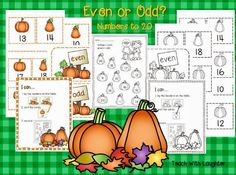 FREE  odd or even pumpkin sort.  Perfect for October or November math tubs.