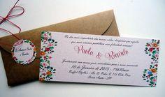 >Convite para Casamento ou Noivado estilo rústico campestre, confeccionado em papel Reciclato 180g, envelope no Kraflt 200g, cordão encerado e tag. Dimensões convite: 8,5 x 21cm
