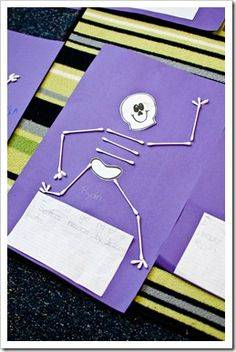 """Activity for the book """"Skeleton Hiccups"""" by Margery Cuyler.  Have kids write using the prompt, """"I would get rid of a skeleton's hiccups by…"""".  Then draw the skeleton face & hips and cut out.  Then kids can decide how the rest of the skeleton looks using q-tips."""