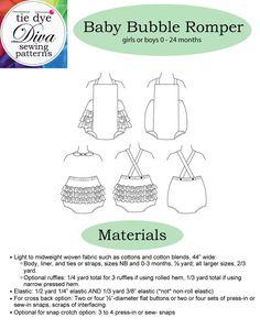Baby Romper Pattern Easy to Sew Bubble Pattern for Babies | Etsy Baby Romper Pattern Free, Baby Ruffle Romper, Baby Bloomers, Baby Girl Patterns, Baby Clothes Patterns, Frock Patterns, Clothing Patterns, Beginner Sewing Patterns, Pattern Sewing